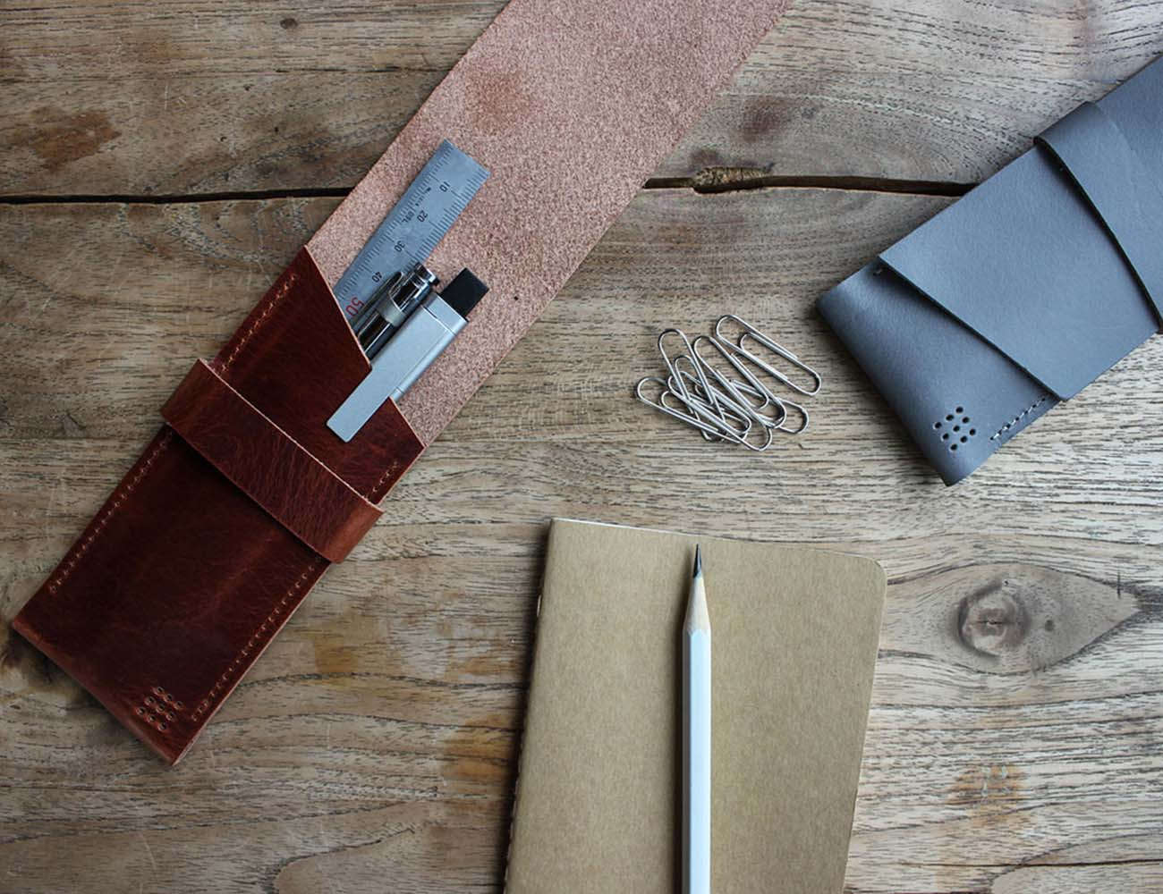 702 Handmade Black Leather Pen Case by Posh Projects