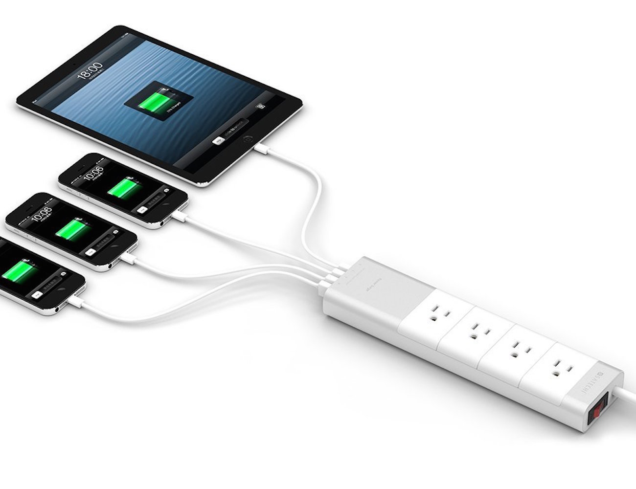 Aluminum 4-Outlet Home/Office Power Strip by Satechi®