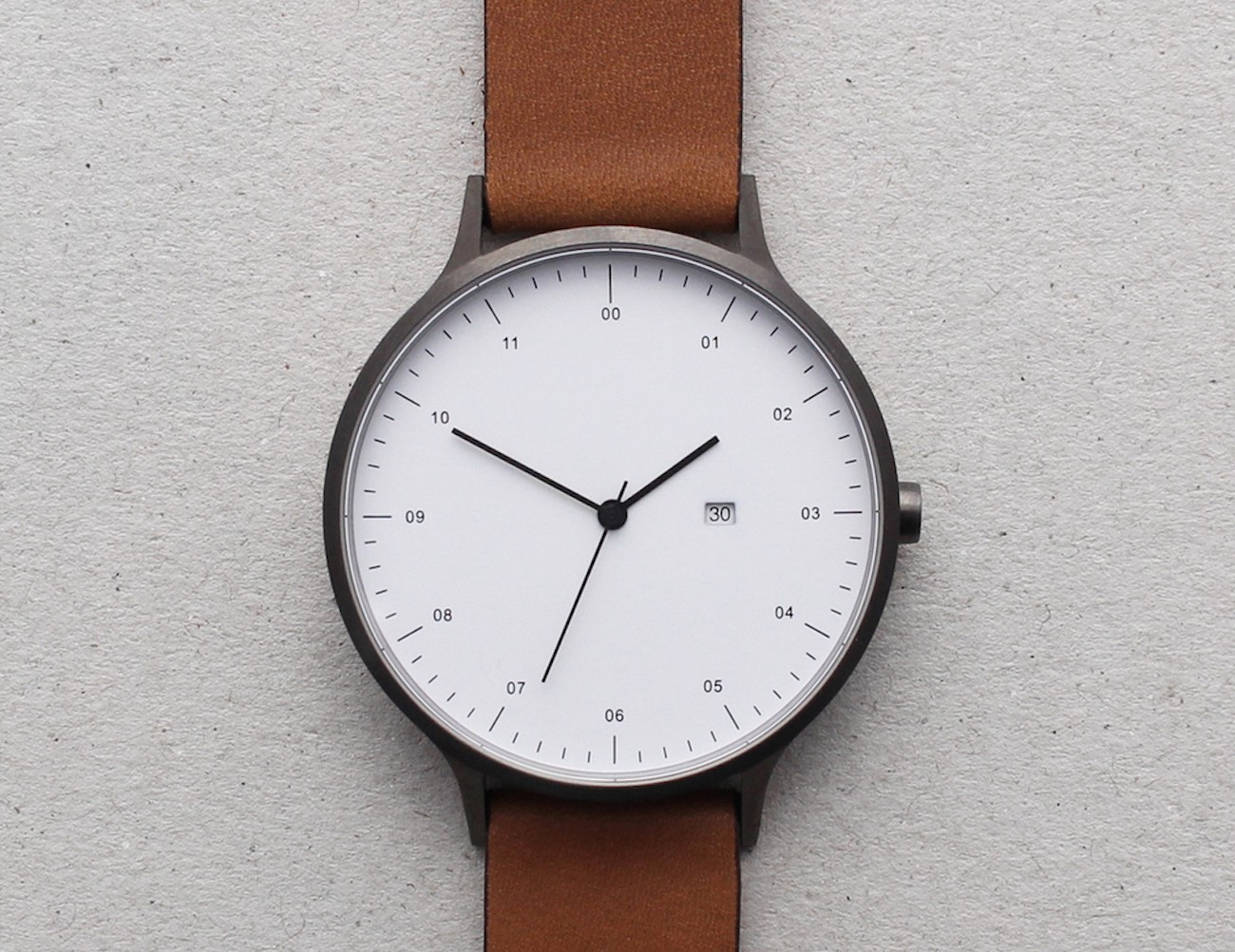 INSTRMNT 01-A Watch – Gunmetal Steel Casing and Tan Leather Strap