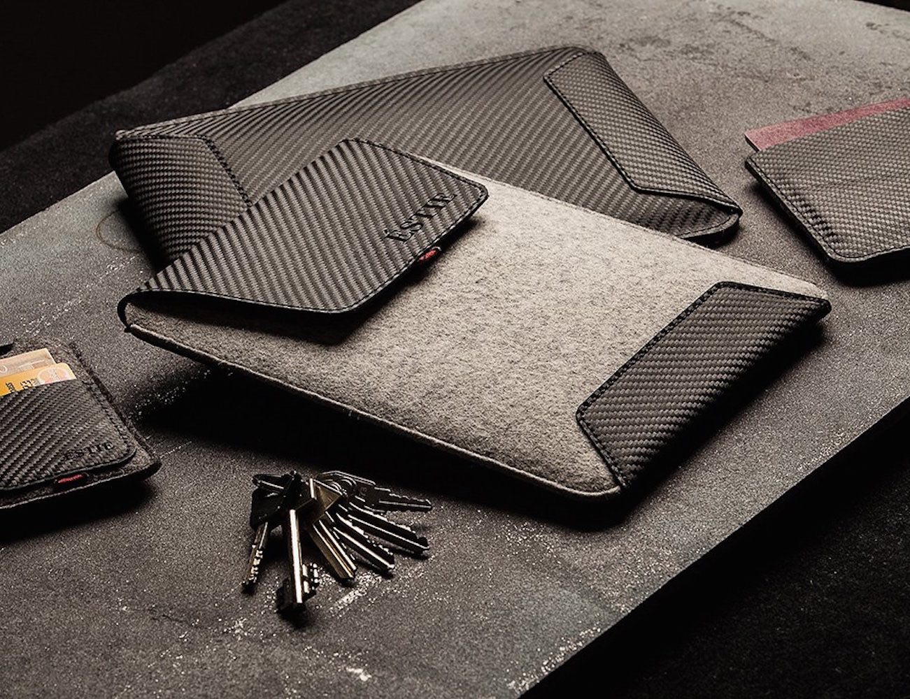 IPad+Air%2FMini+Sleeve+By+%C3%89STIE+%26%238211%3B+100%25+Handmade+With+Carbon+Leather+Weave