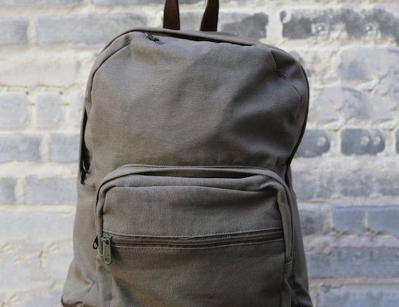 Tear Drop Canvas Backpack by Black & Denim – Comes With Leather Detailing