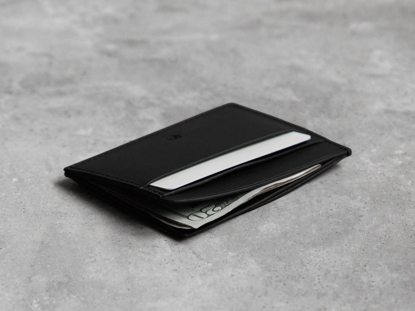 The Nolan Card Holder in Black – Handmade and Waxed to Extend Durability