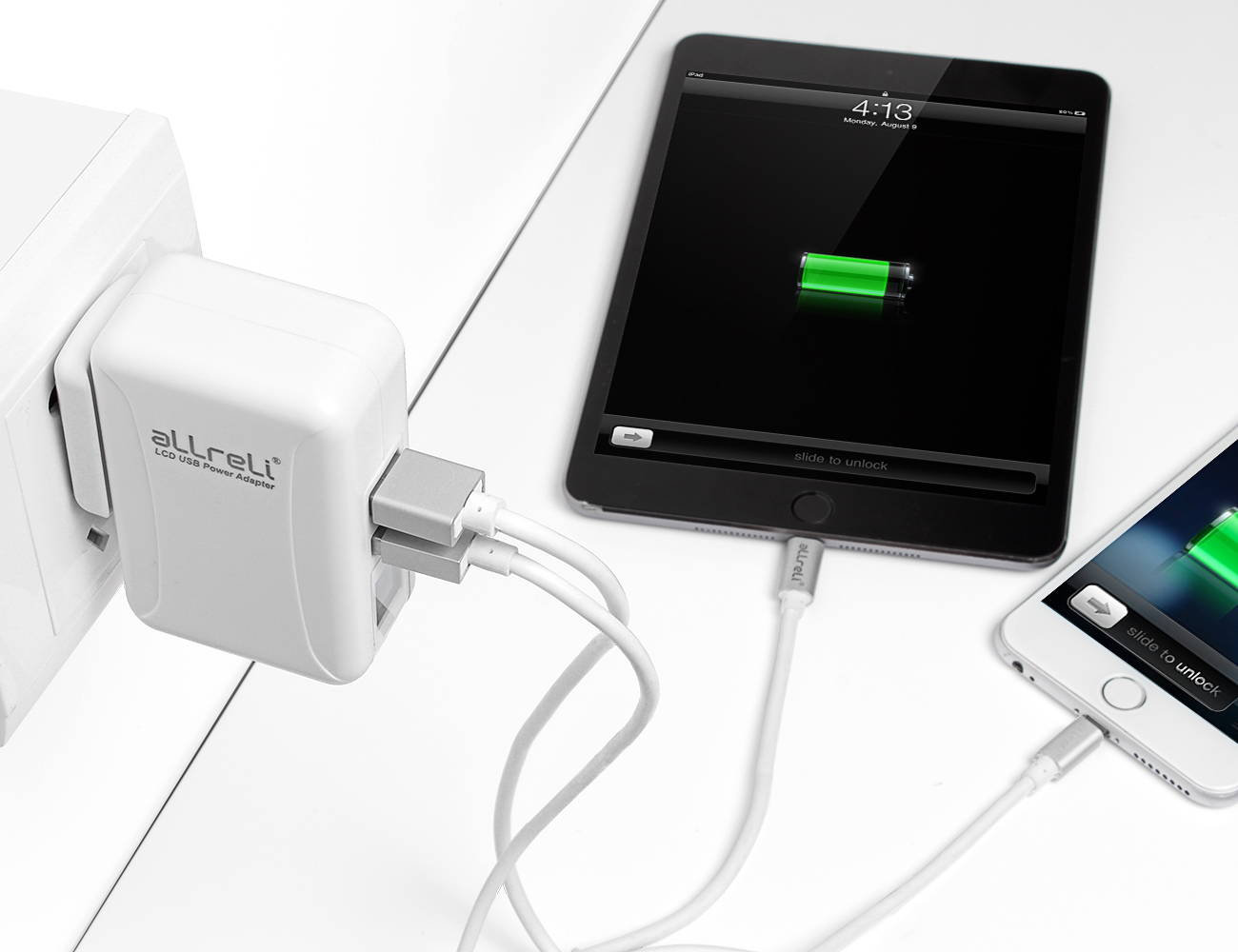 ALLreLi+24W+%2F+4.8A+Dual+USB+Travel+Charger+Kit+With+LCD+Display+%26amp%3B+Smart+IC