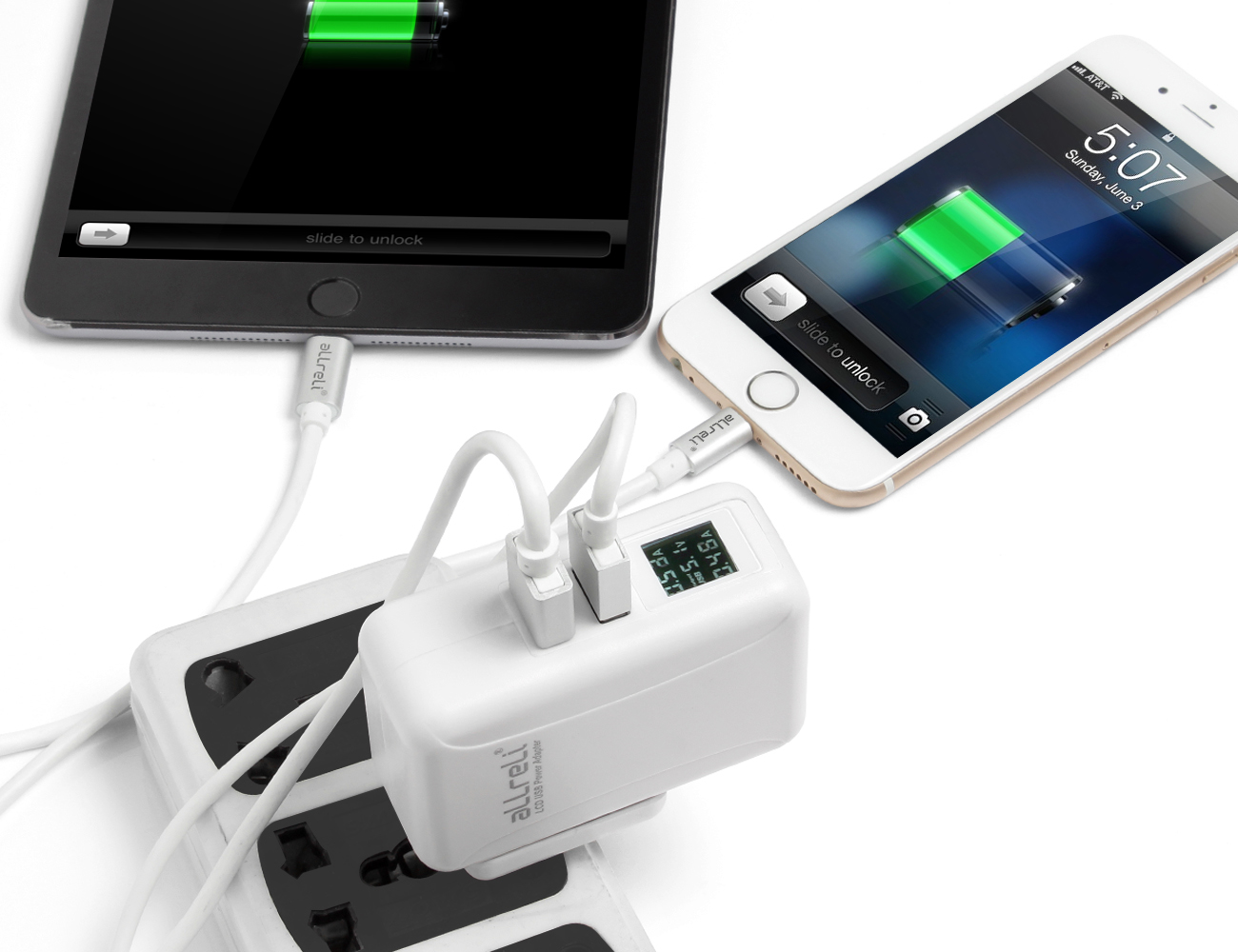 aLLreLi 24W / 4.8A Dual USB Travel Charger Kit With LCD Display & Smart IC