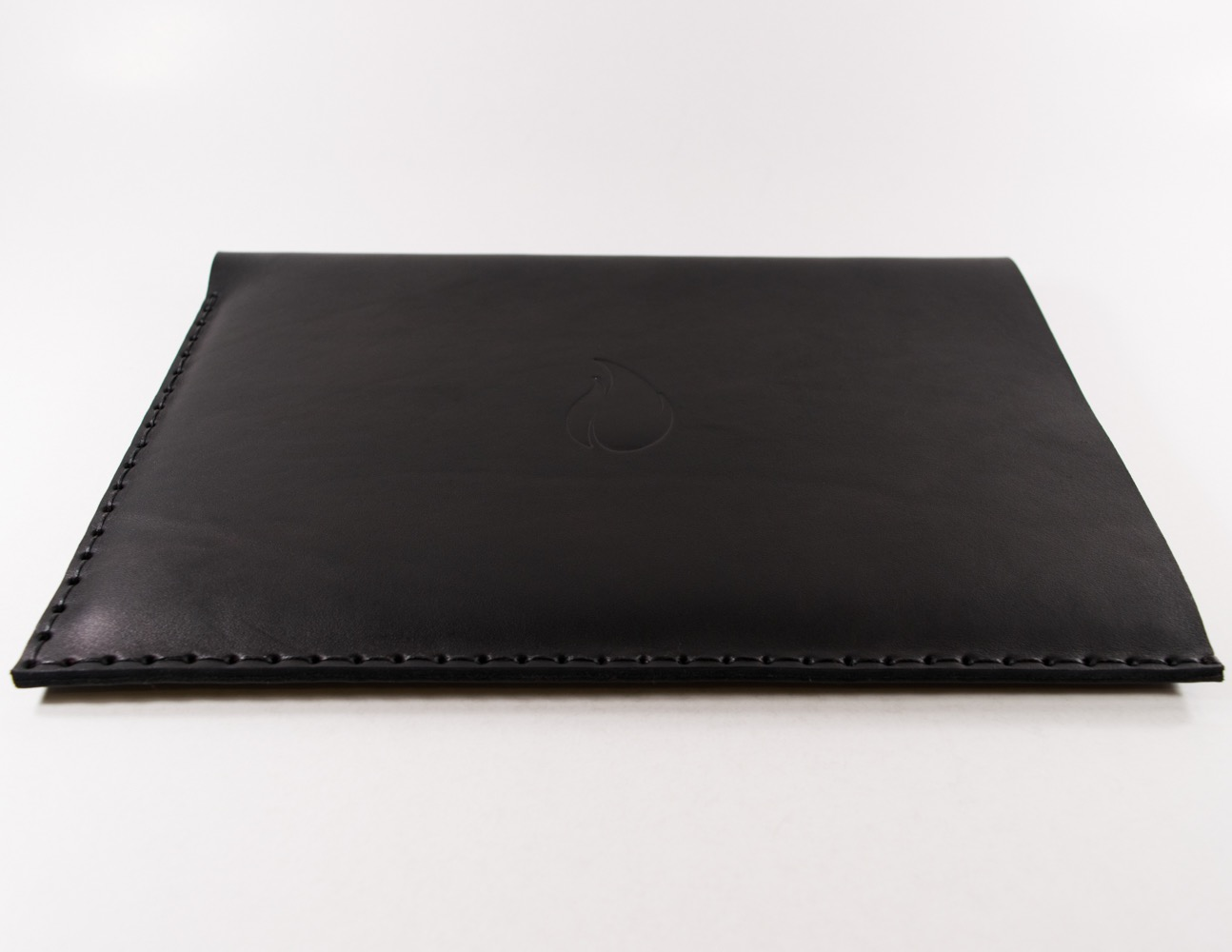 12 inch MacBook Black Thick Natural Leather Sleeve by FireCult