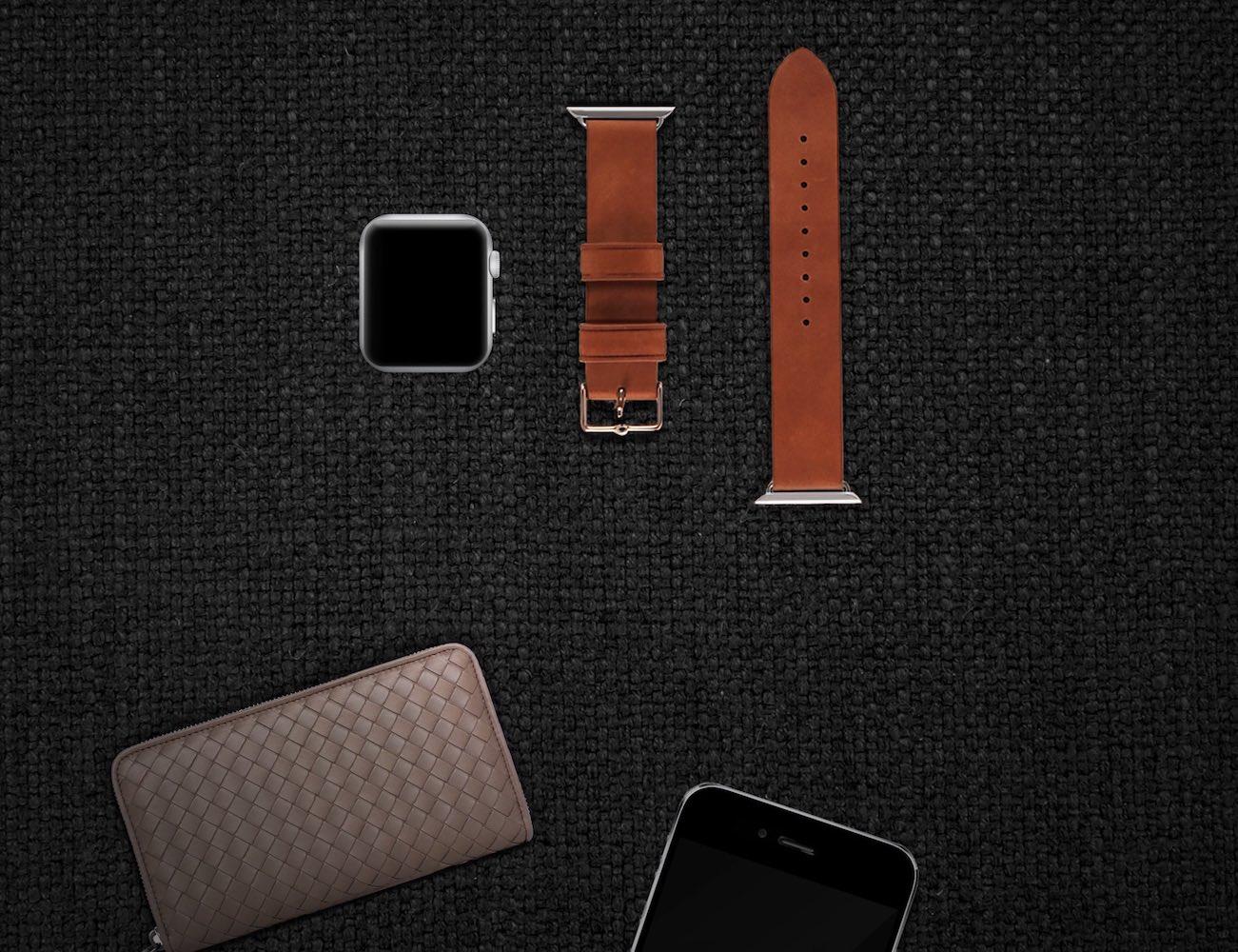 Brown Leather Apple Watch Strap by Monowear