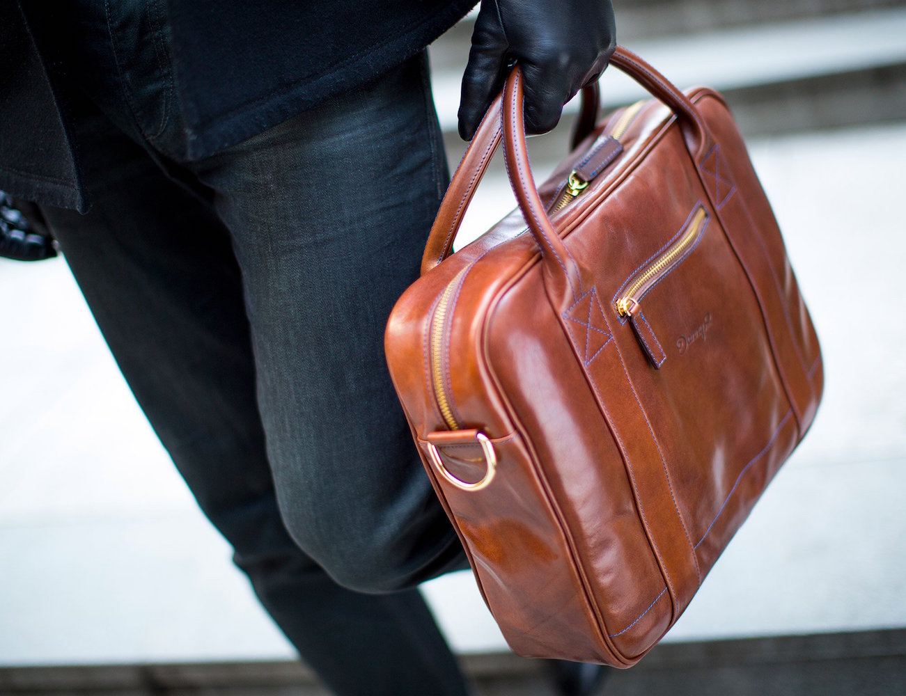 Leather Messenger Bag by Danny P.