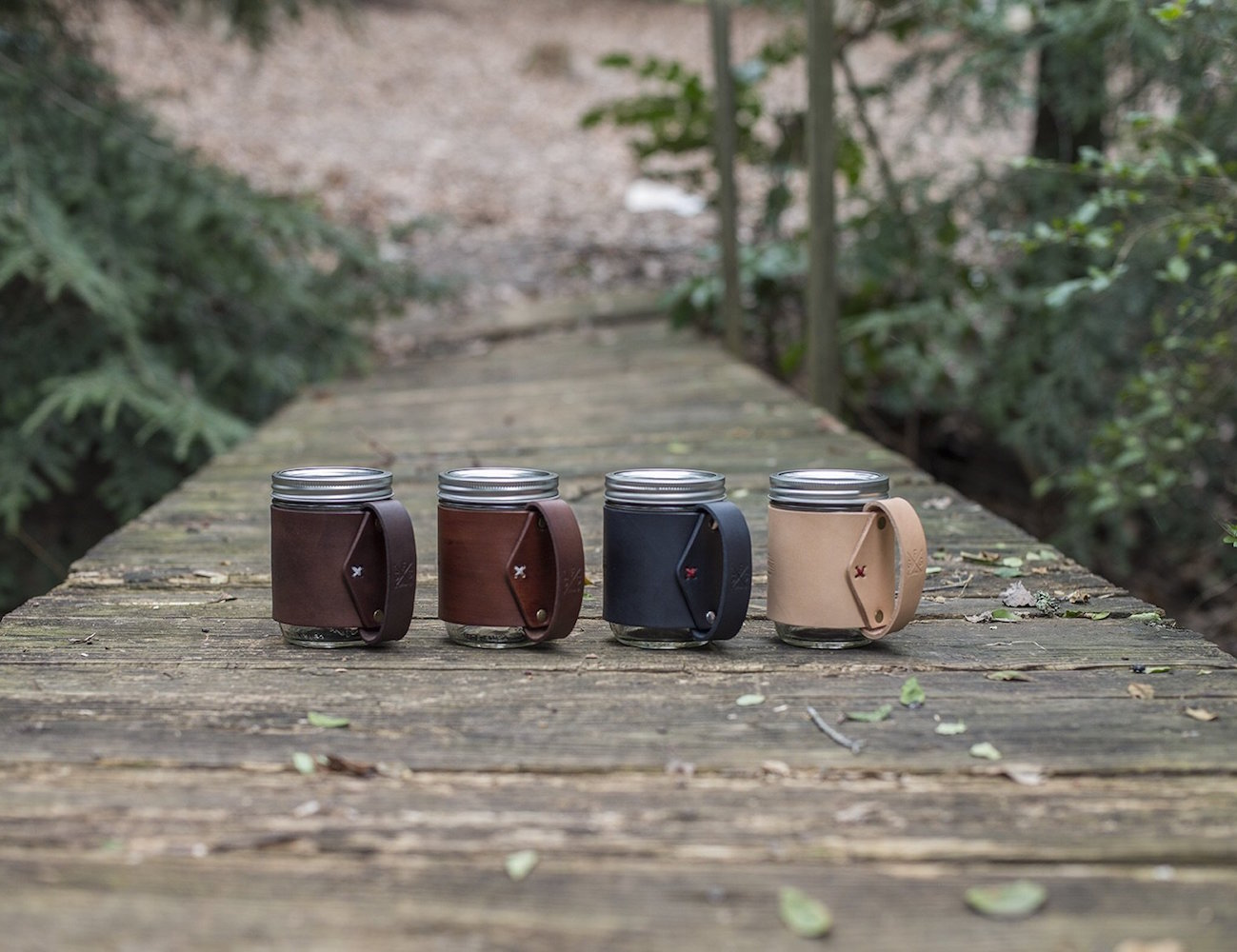 The Traveler Mug – Mason Jar Hugged in Vegetable Tanned Leather