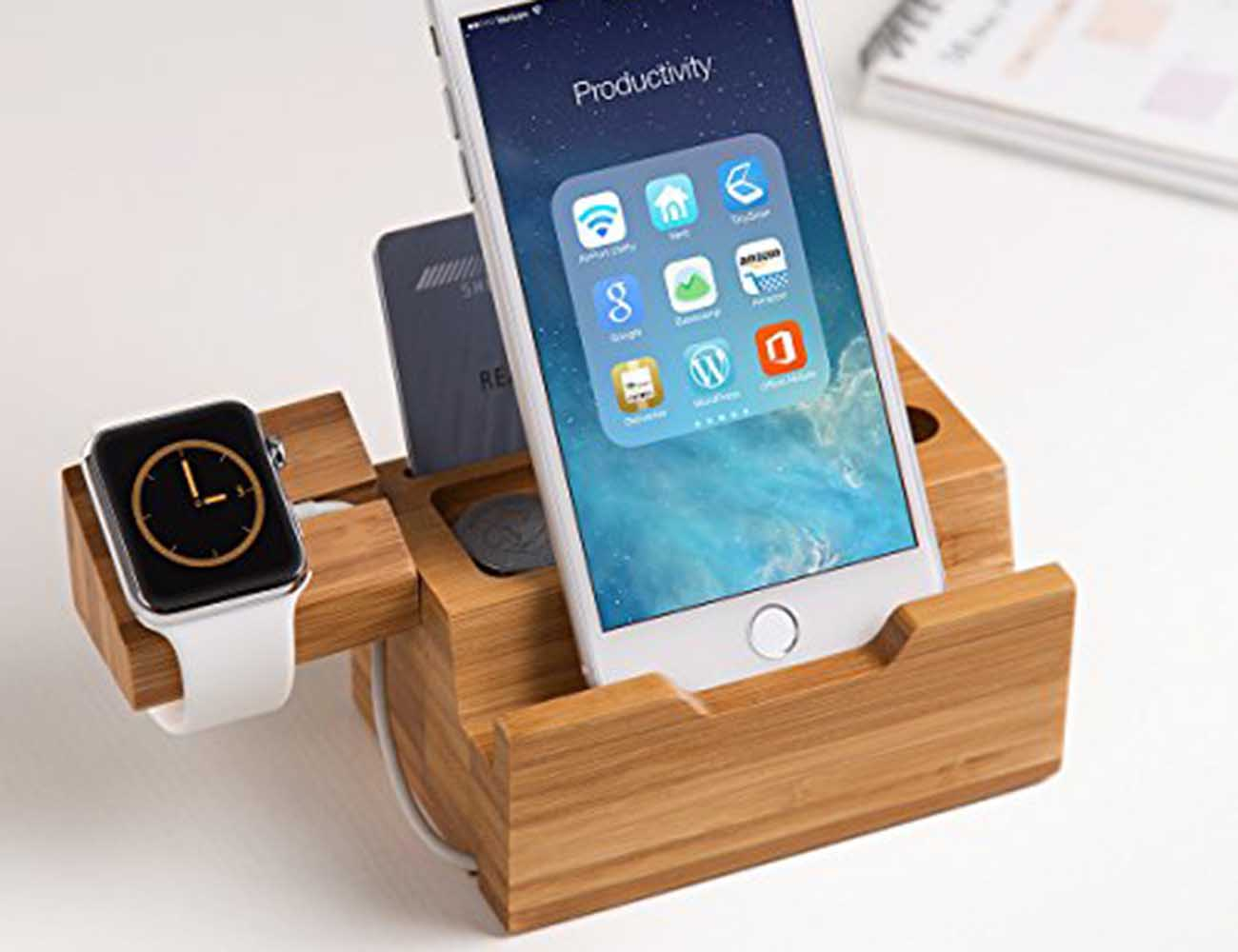 Two-in-One Wood Apple Watch Charger and iPhone Holder