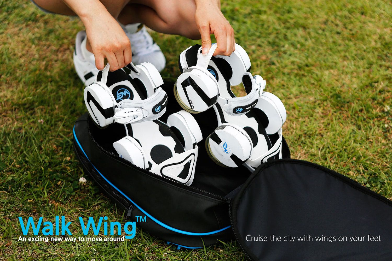 Walk Wing – Retractable Wheels Slip Over Your Shoes