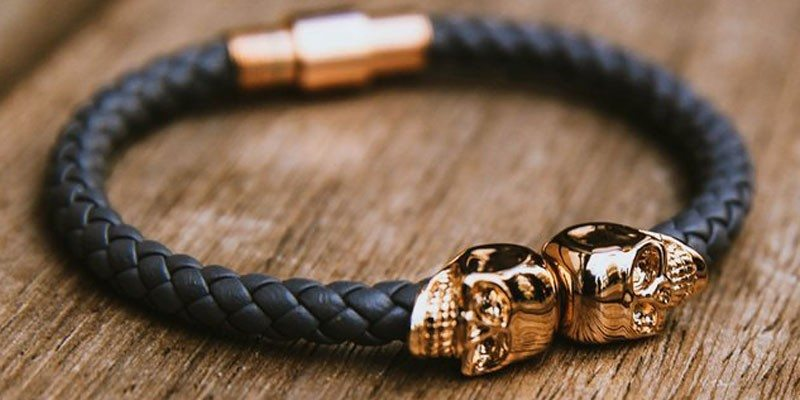 Twin Skull Leather Bracelet by North Skull