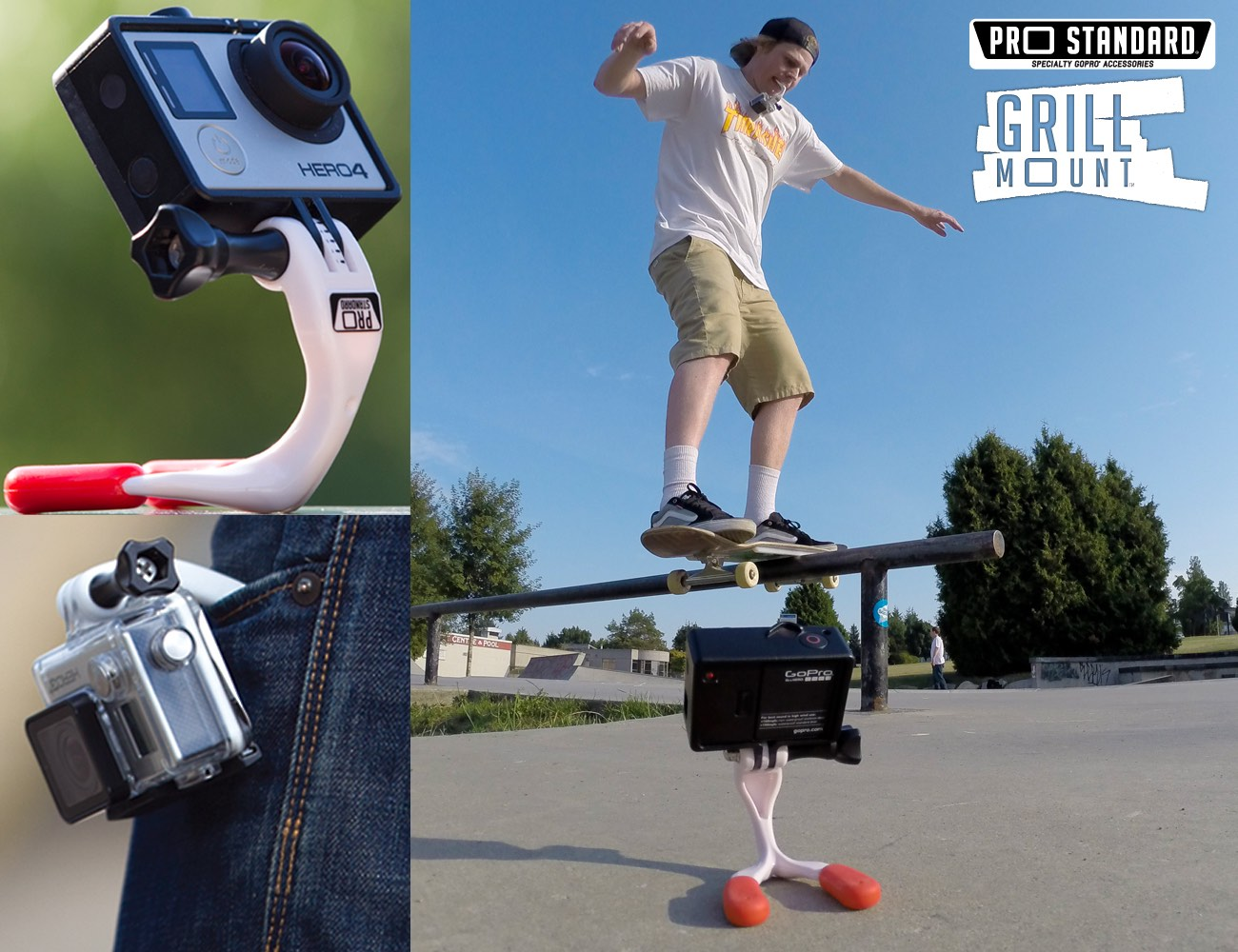 Grill Mount Mini Grip, Tripod, Hook Mount, Mouth Mount for GoPro Cameras