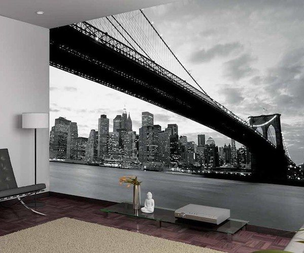 Wall murals black and white home design for Brooklyn bridge black and white wall mural
