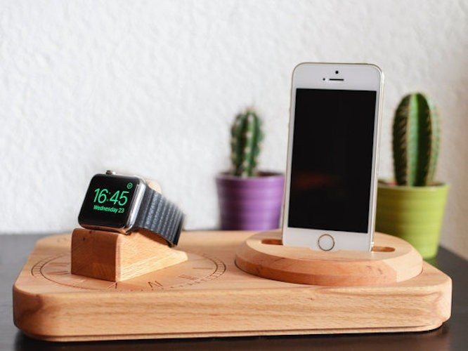 handmade wood apple watch and iphone docking station 15 minute news. Black Bedroom Furniture Sets. Home Design Ideas
