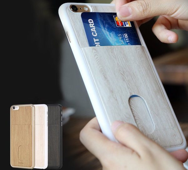 Wood Grain Card Slot iPhone Case by Rock