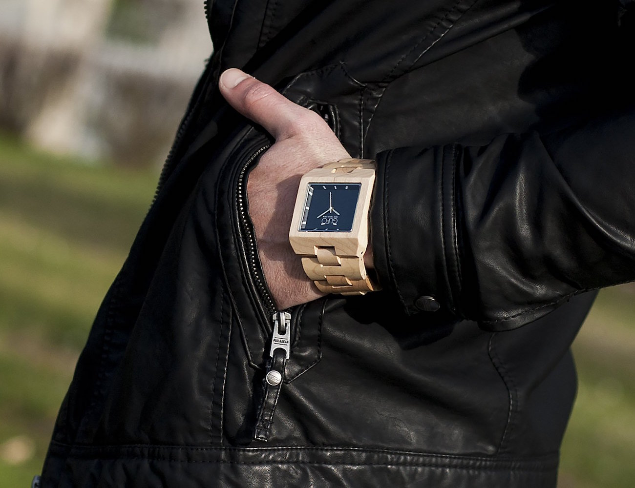 Black+Stone+Wooden+Wrist+Watch+By+GUFO+Italy