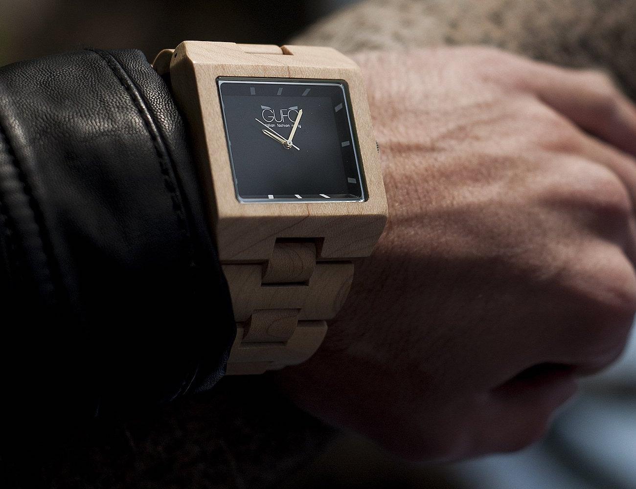 Black Stone Wooden Wrist Watch by GUFO Italy