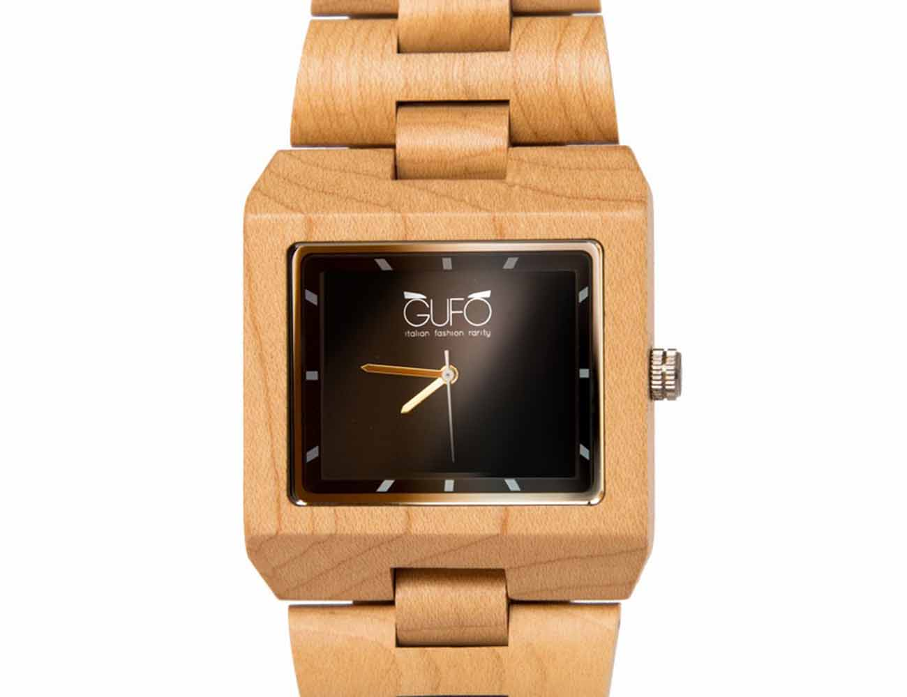 Black Stone Wooden Wrist Watch by GUFO Italy
