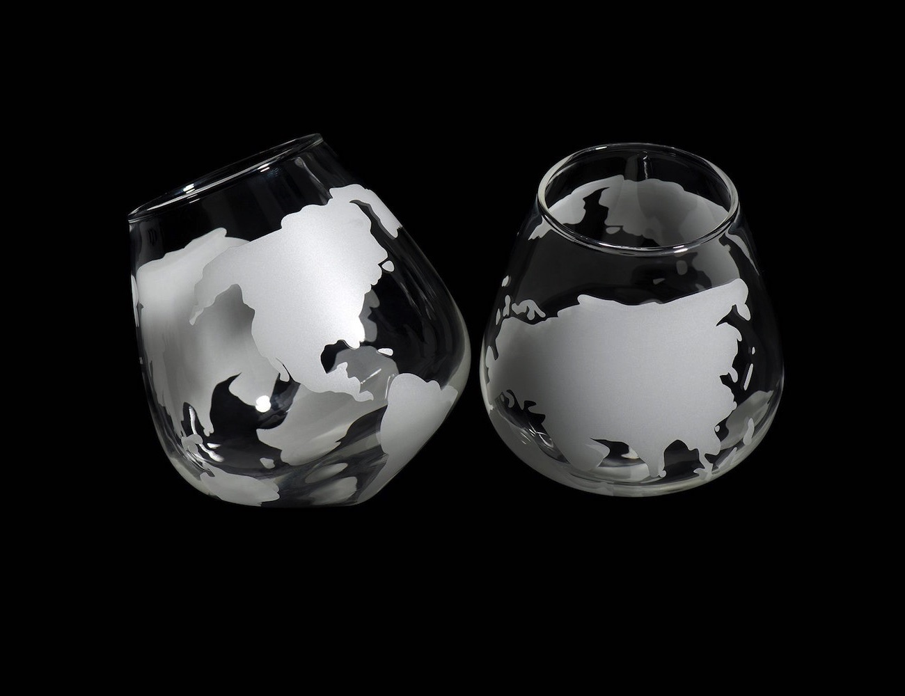 Etched Spinning Globe Whiskey Glasses