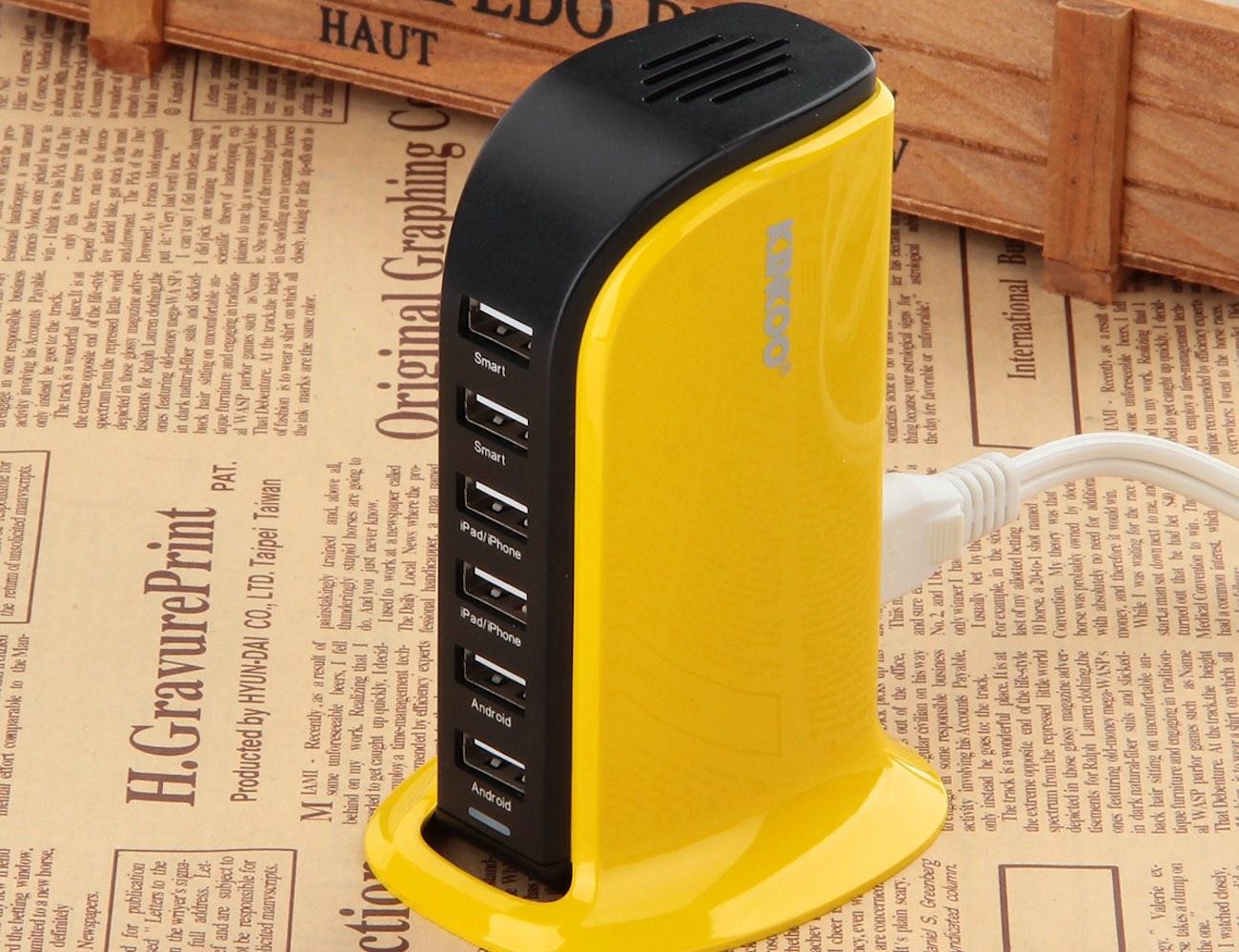Kinkoo® 40W 6-Port High Speed USB Charger (Yellow)