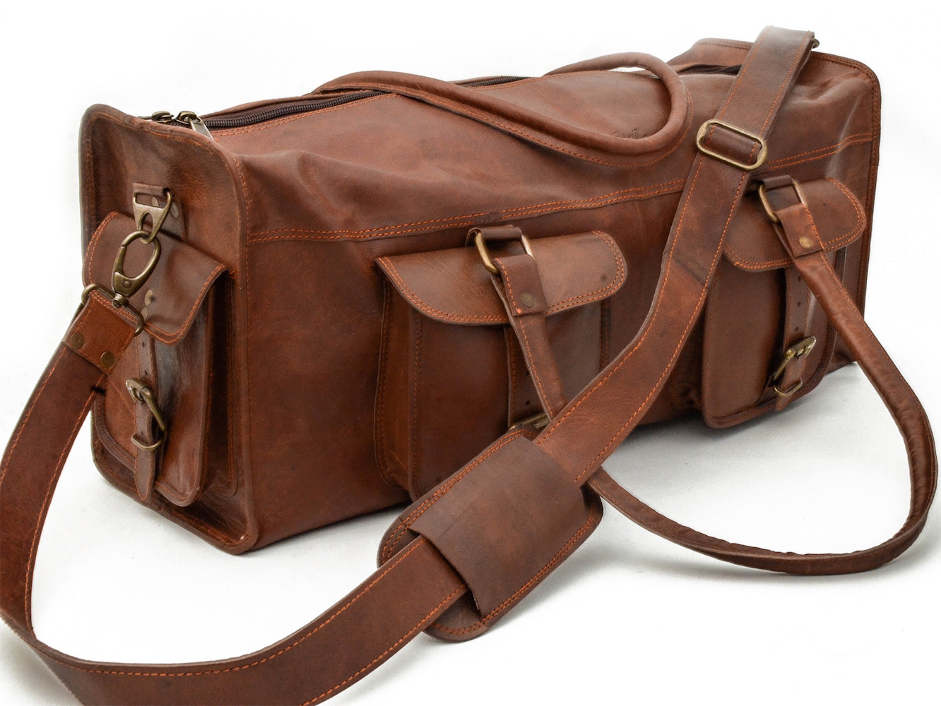 Leather Overhead Duffle by Johnny Fly