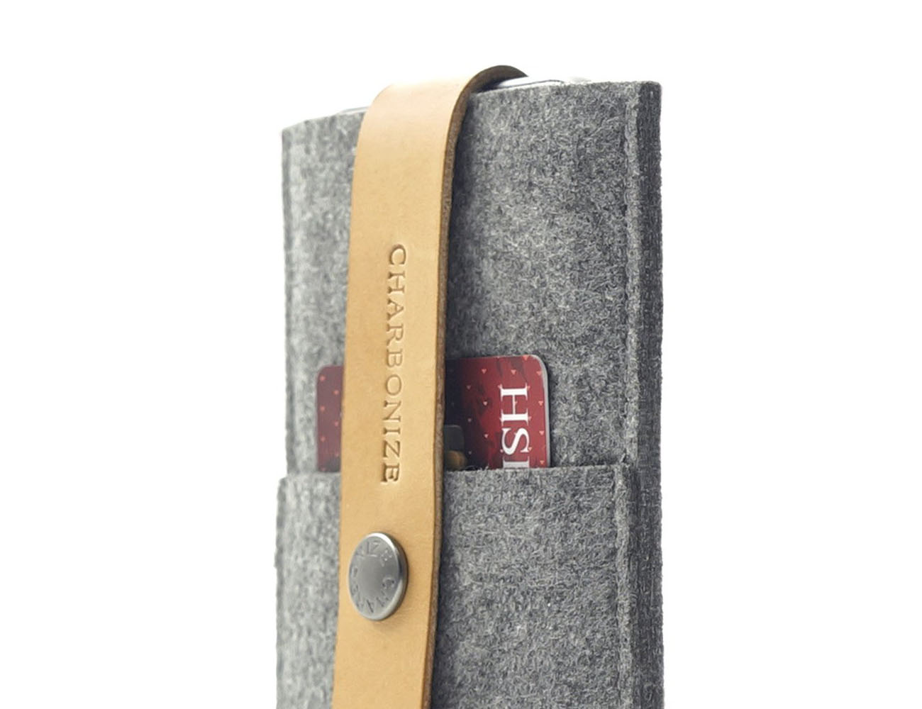 Leather & Wool Felt iPhone Wallet from CHARBONIZE