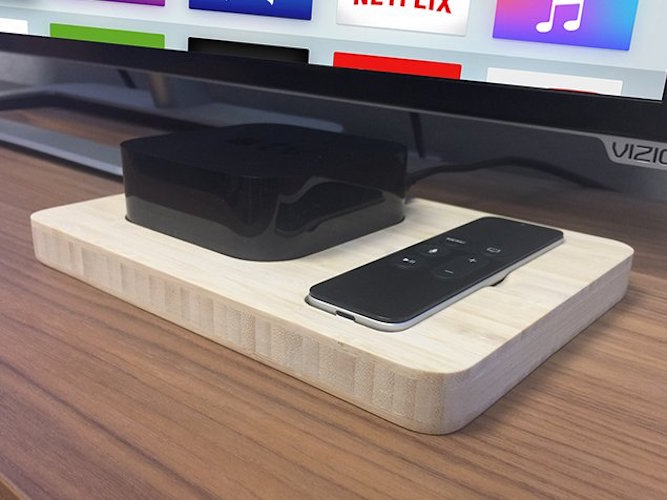 Wood Station for Apple TV and Remote by iSkelter