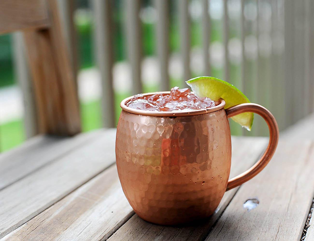 Antique Hammered Copper Barrel Mug