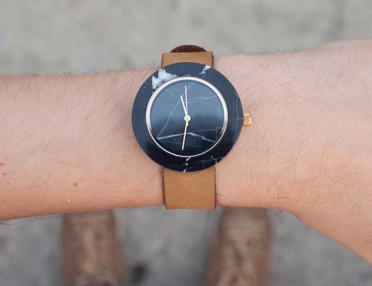 Black Marble Round Mason Watch by Gessato