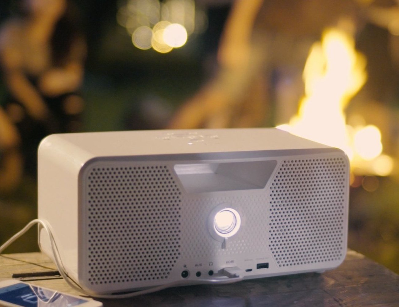 Dashbon Flicks Mobile Cordless Boombox Projector