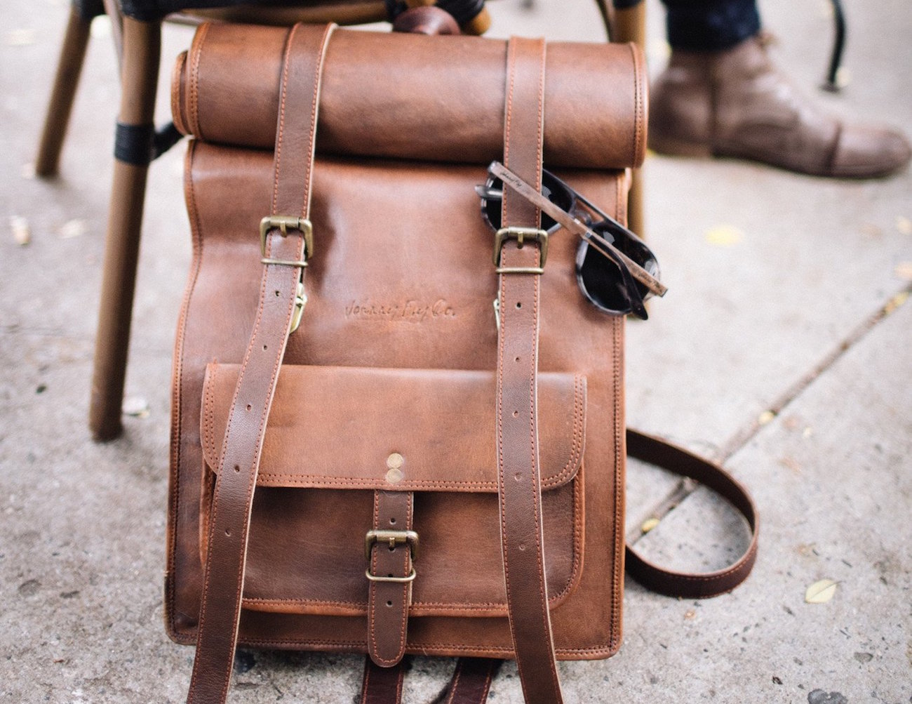 Leather Rolltop Backpack by Johnny Fly Co