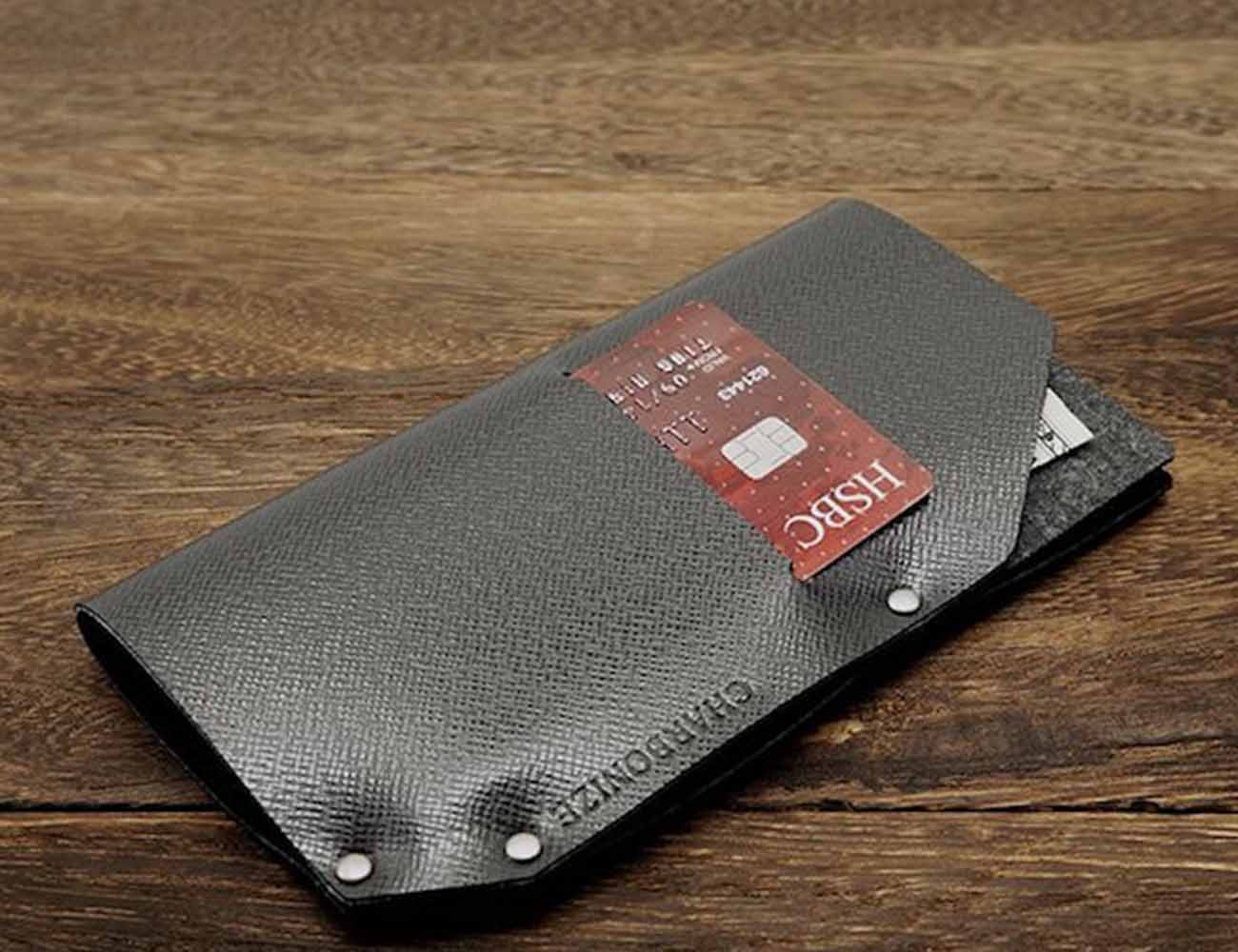 Leather iPhone Sleeve and Wallet by Charbonize