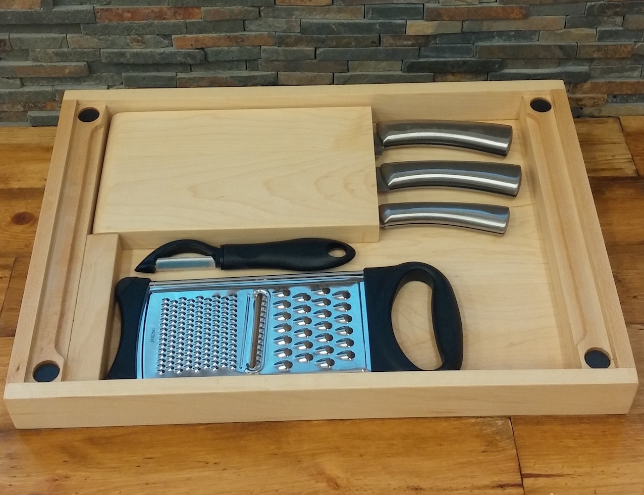 "BisonBlock's ""Perfectly Practical"" All-in-One Chopping Block"