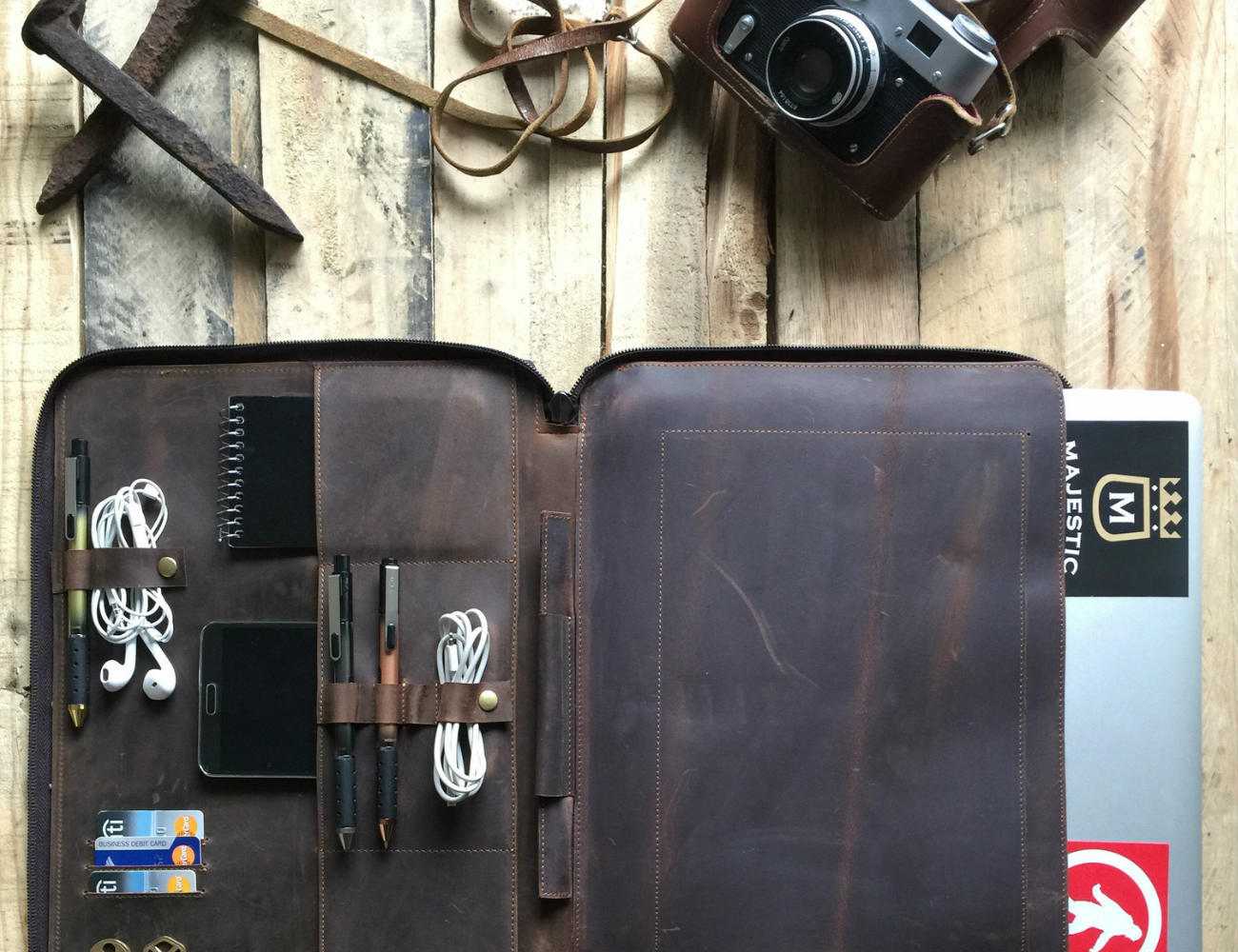 Leather Portfolio Laptop and Document Organizer by Savage Supply Co
