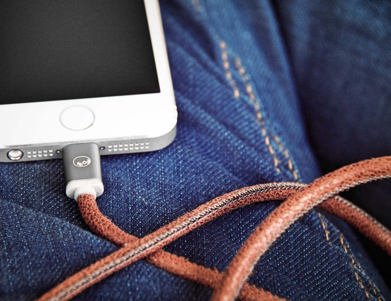 LifeStar Handcrafted Leather Lightning Cable by Plusus