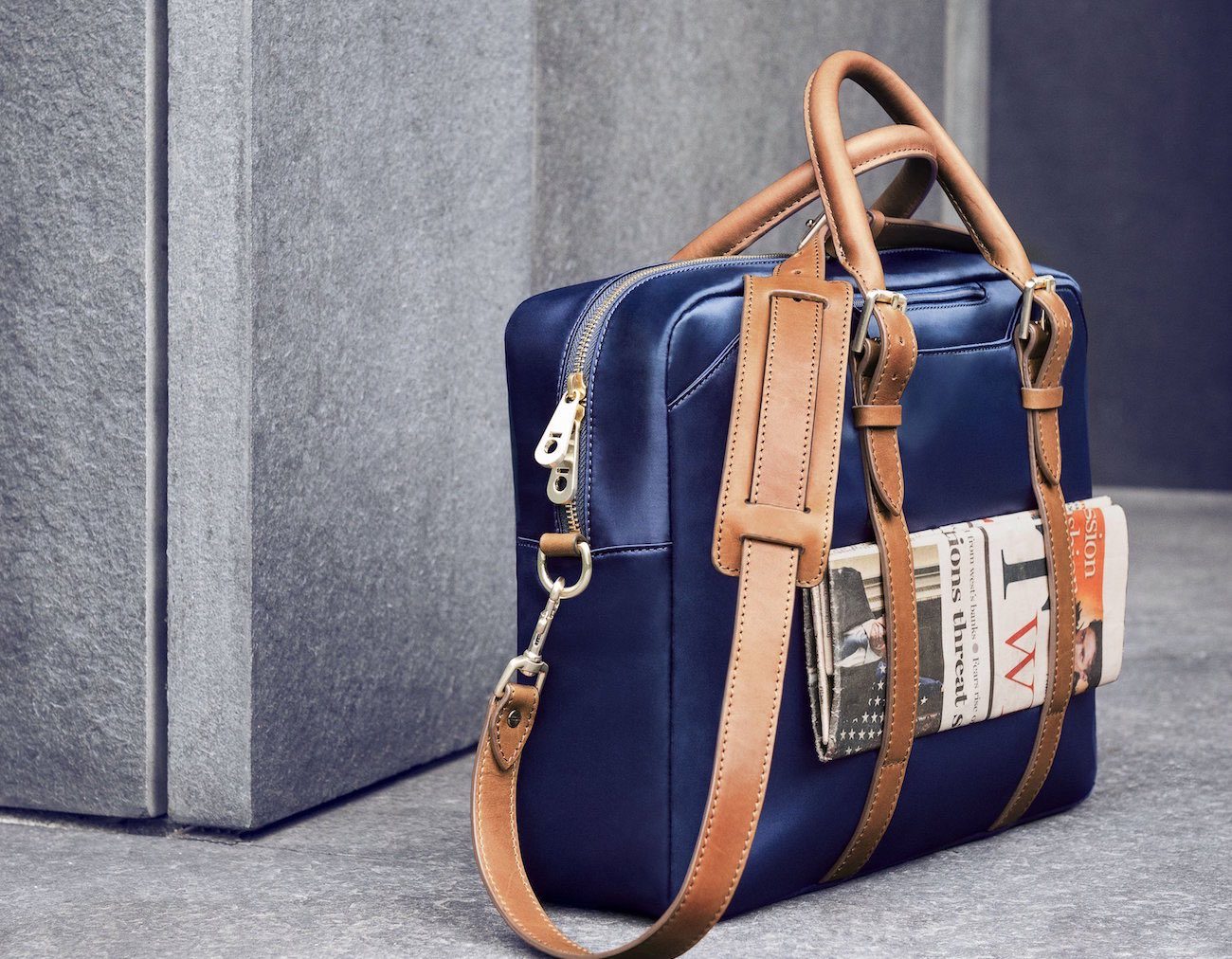 Navy and Tan Cary Briefcase by Stuart & Lau