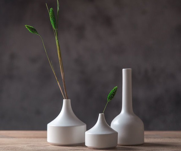 White Matte Glaze Ceramic Vases from suramic