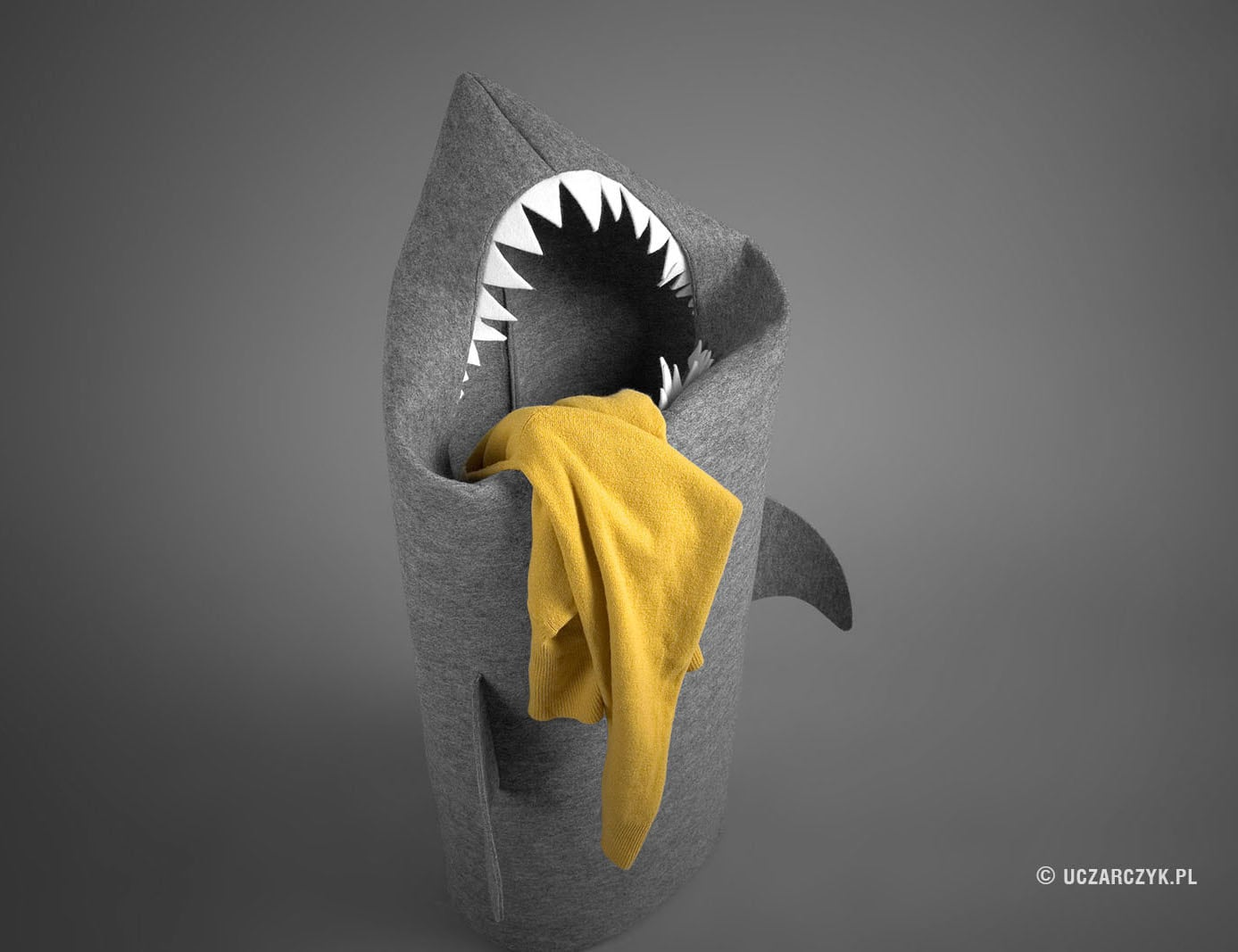 Handmade+Felt+Shark+Laundry+Basket