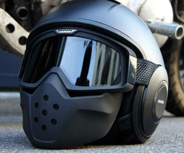 Shark Raw Blank Matte Black Motorcycle Helmet
