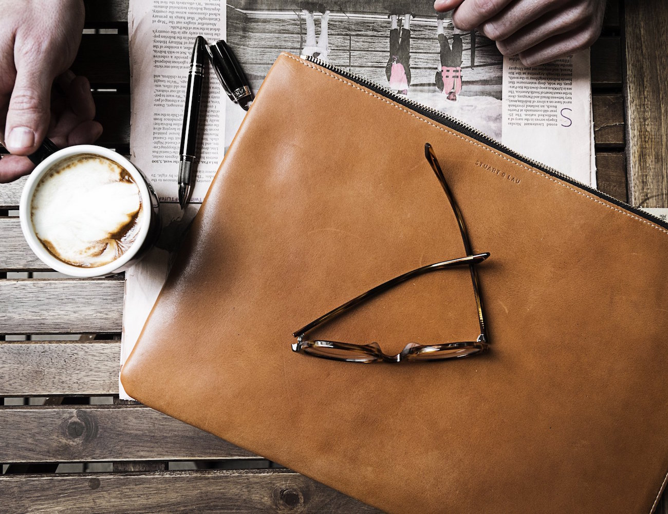 The Leather Laptop Sleeve and Portfolio by Stuart & Lau