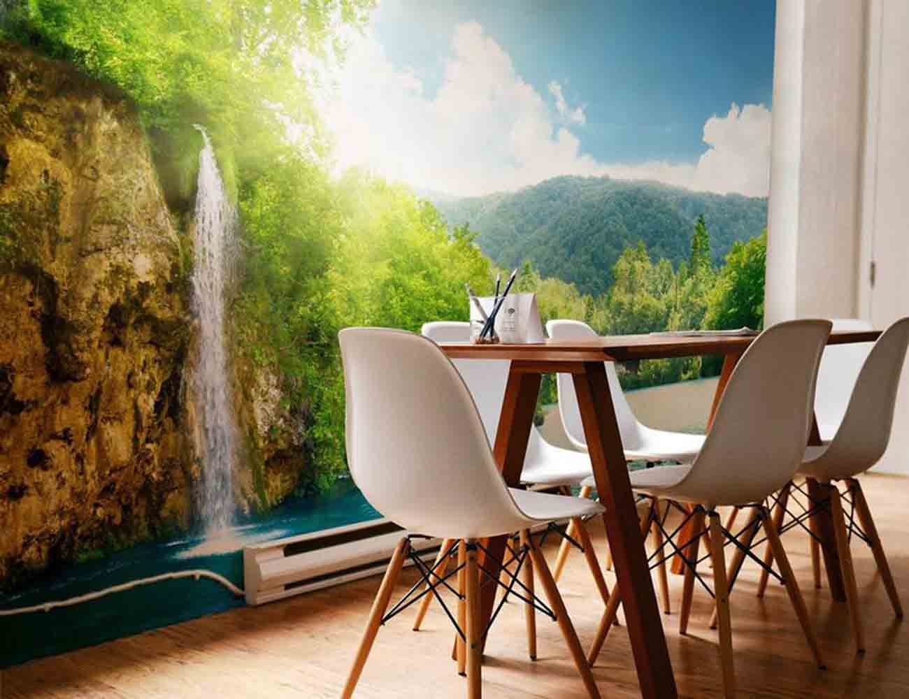 Plitvice lakes wall mural by eazywallz gadget flow for Cd mural wall display