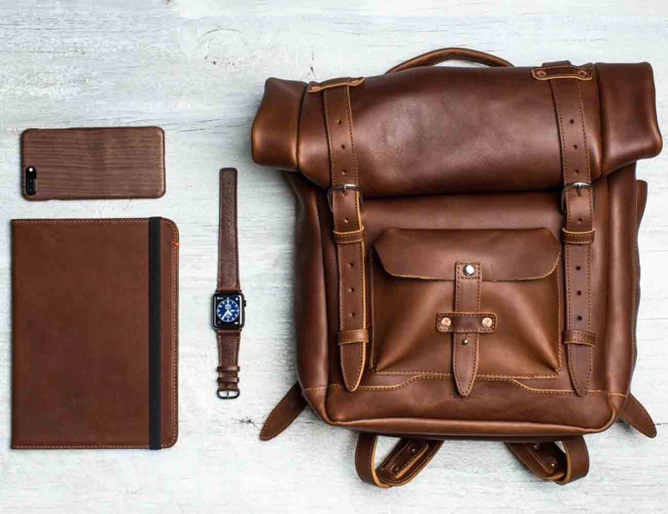 Roll Top Leather Backpack by Pad & Quill