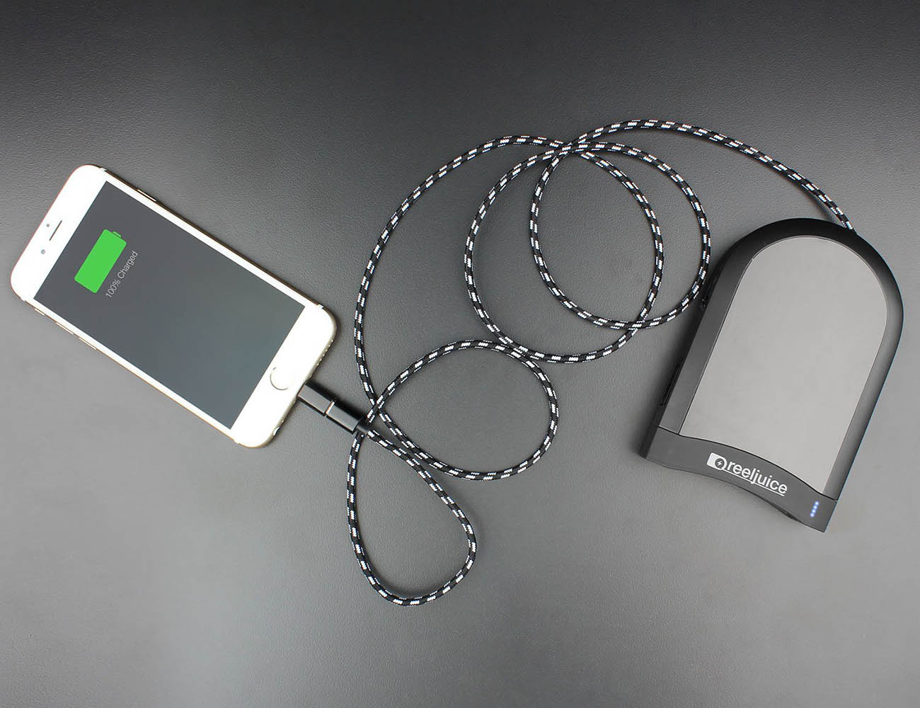 Reeljuice Portable Battery with Built-In Cable
