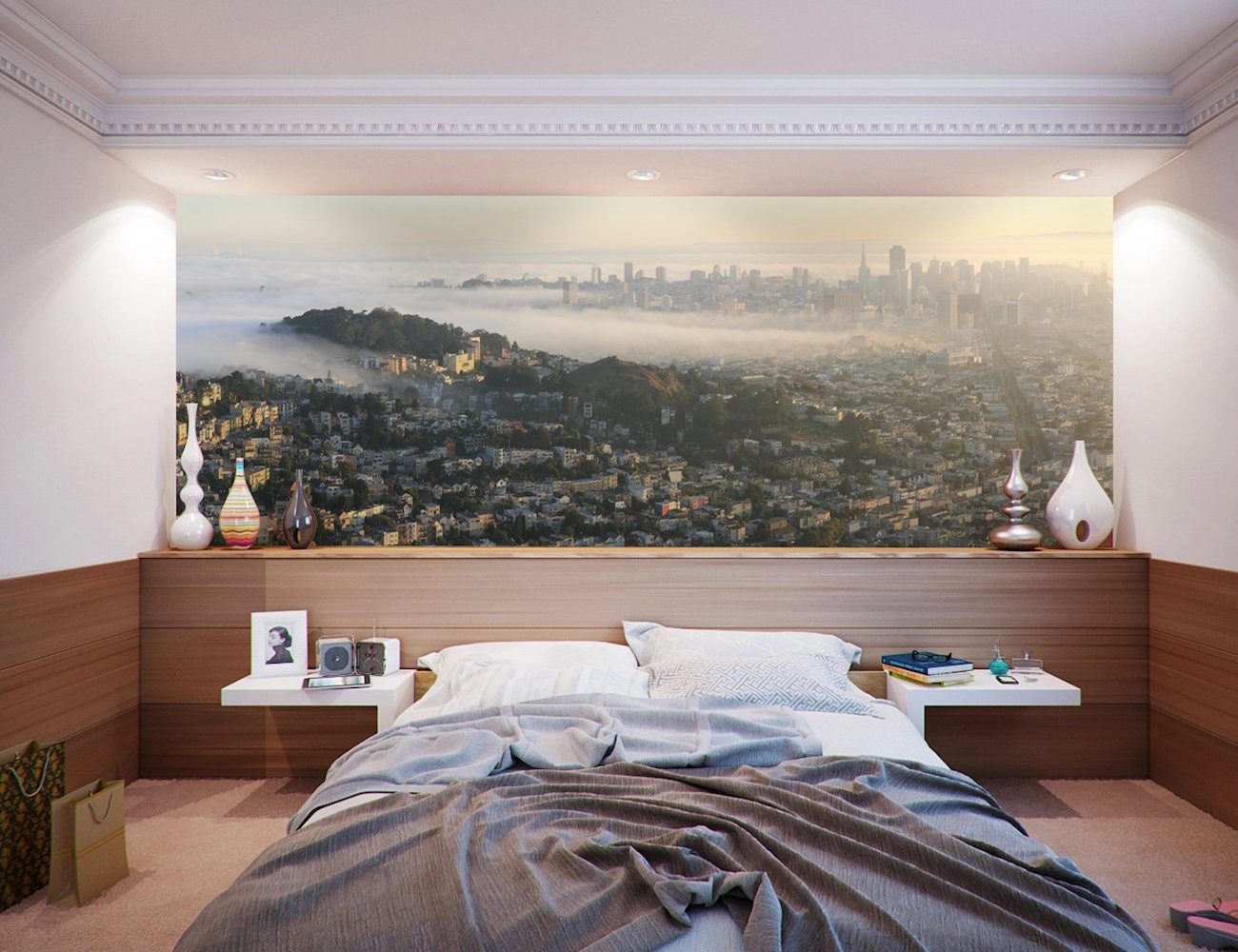 san francisco panoramic skyline wall mural by eazywallz san francisco panoramic skyline wall mural by eazywallz