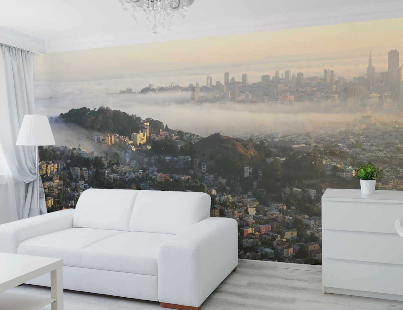 San francisco panoramic skyline wall mural by eazywallz for Cityscape wall mural