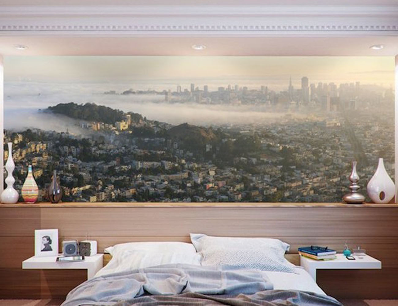 San Francisco Panoramic Skyline Wall Mural by Eazywallz