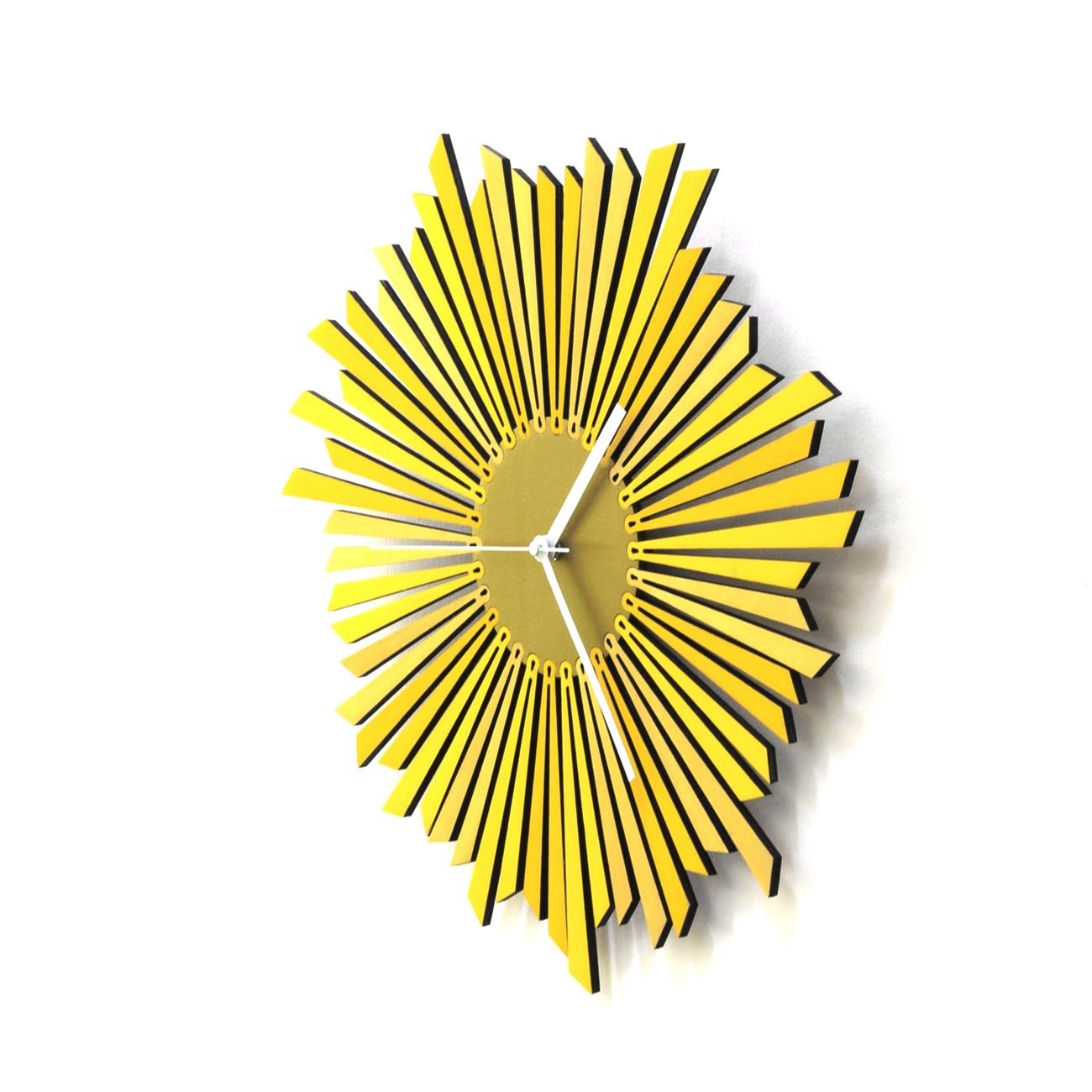The Sun – Stylish Yellow / Golden Wooden Wall Clock