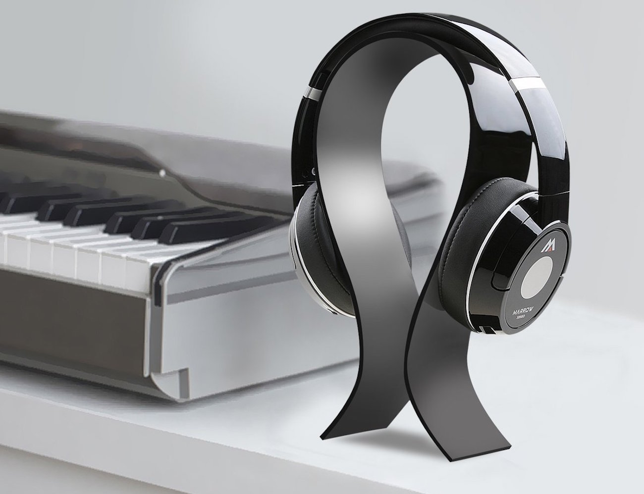 Headphone Stand Designs : Omega acrylic headphone stand by amovee gadget flow