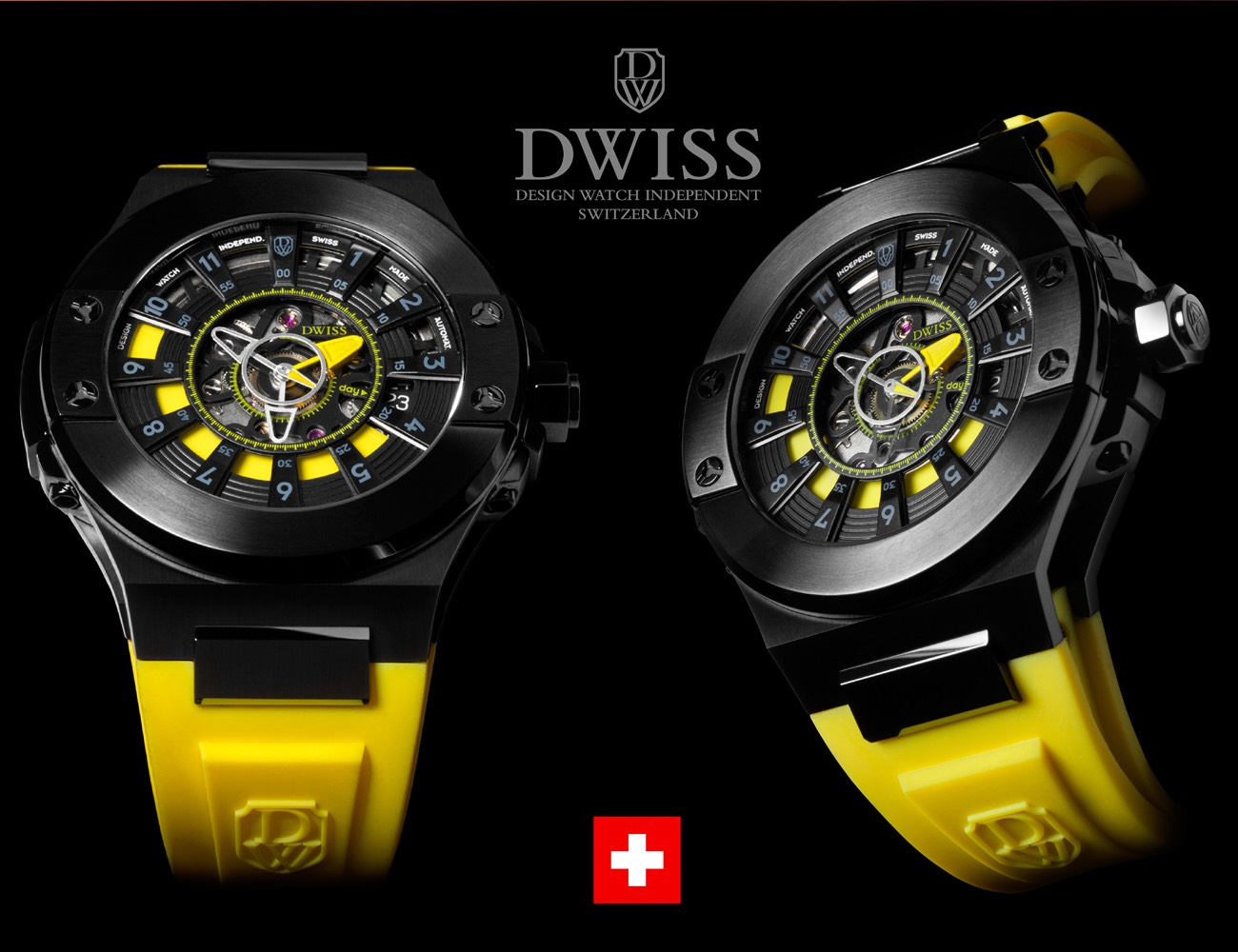 DWISS M2 Automatic Swiss Watch with Innovative Time Reading