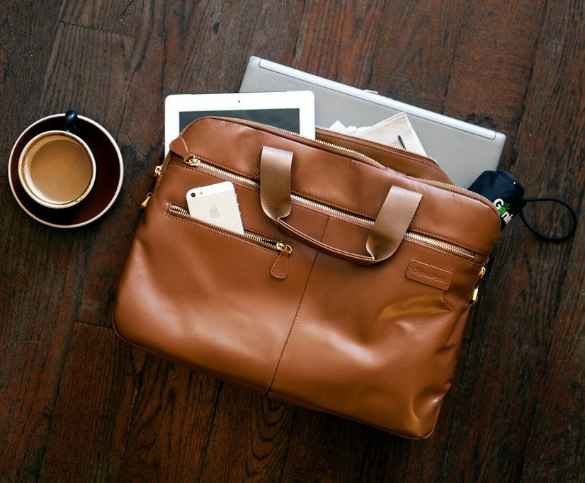 Luxe Leather Briefcase with Built-In Charger